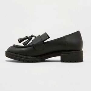 NEW black chunky penny loafers creepers w tassels